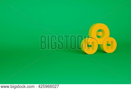 Orange Chemical Formula For Water Drops H2o Shaped Icon Isolated On Green Background. Minimalism Con