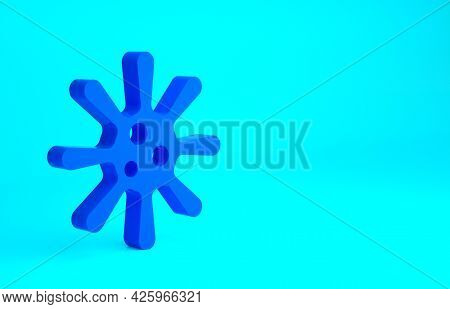 Blue Bacteria Icon Isolated On Blue Background. Bacteria And Germs, Microorganism Disease Causing, C