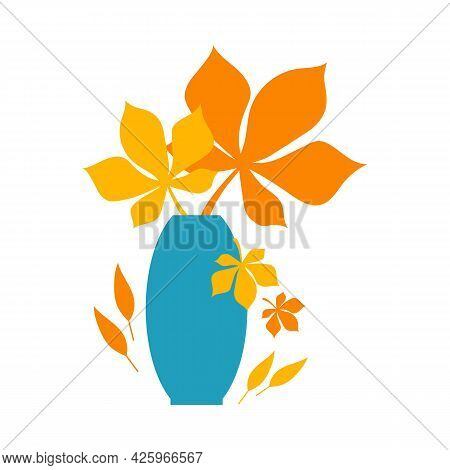 Autumn Concept For Postcard, Card, For Thematic Banner, Poster. Autumn Orange And Yellow Leaves In B