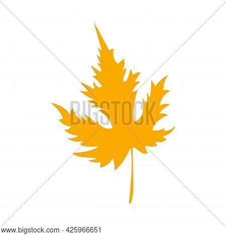 Fall Orange Tatar Maple Leaf. Simple Autumn Leaf, Herbal Element. Can Be Used As Sign, Symbol, Icon.