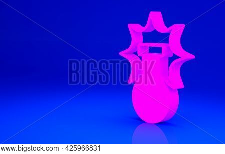 Pink Chemical Experiment, Explosion In The Flask Icon Isolated On Blue Background. Chemical Explosio