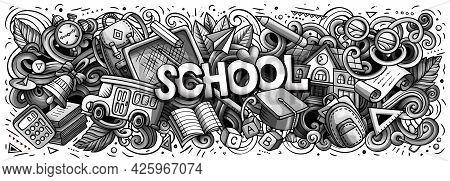 Cartoon Cute Doodles School Word.