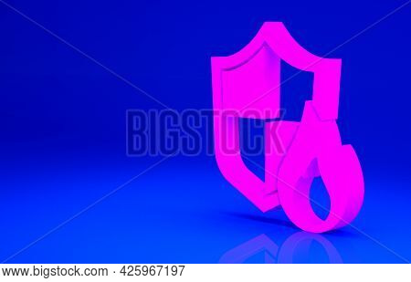 Pink Fire Protection Shield Icon Isolated On Blue Background. Insurance Concept. Security, Safety, P