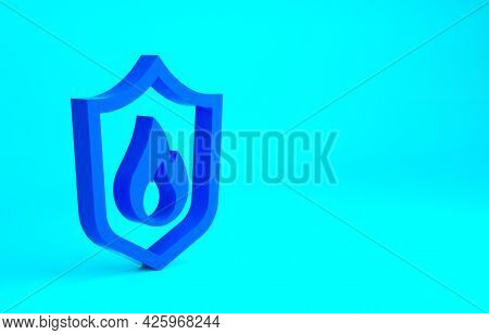 Blue Fire Protection Shield Icon Isolated On Blue Background. Insurance Concept. Security, Safety, P