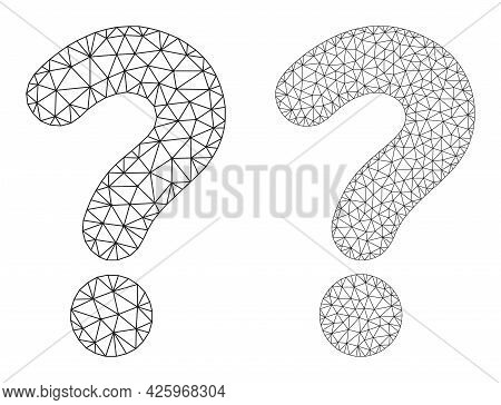 Mesh Vector Question Mark Icons. Mesh Carcass Question Mark Images In Low Poly Style With Organized