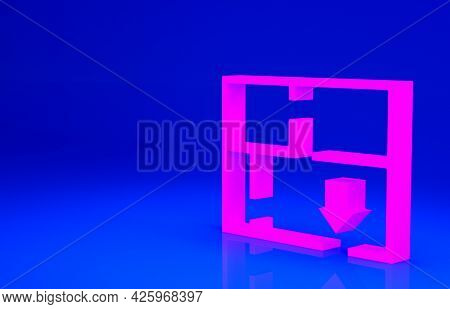 Pink Evacuation Plan Icon Isolated On Blue Background. Fire Escape Plan. Minimalism Concept. 3d Illu