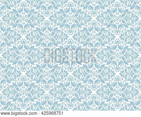Floral Pattern. Vintage Wallpaper In The Baroque Style. Seamless Vector Background. White And Blue O