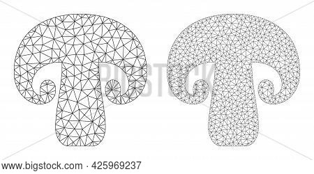 Mesh Vector Champignon Mushroom Icons. Mesh Carcass Champignon Mushroom Images In Lowpoly Style With