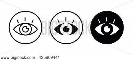 Vision Icon, Eye Vector, Sign, Symbol, Logo, Illustration, Editable Stroke, Flat Design Style Isolat