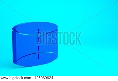Blue Geometric Figure Cylinder Icon Isolated On Blue Background. Abstract Shape. Geometric Ornament.