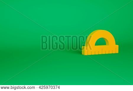Orange Protractor Grid For Measuring Degrees Icon Isolated On Green Background. Tilt Angle Meter. Me