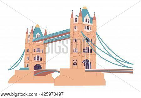Tower Bridge In London On White Background.