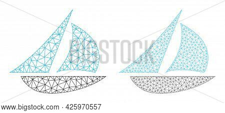 Mesh Vector Sailing Boat Icons. Mesh Wireframe Sailing Boat Images In Low Poly Style With Structured