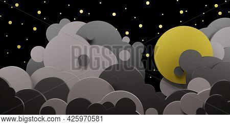 Night Sky And Clouds Full Moon And Stars In The Sky Paper Cut Style 3d Illustration