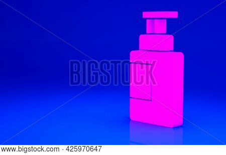 Pink Hand Sanitizer Bottle Icon Isolated On Blue Background. Disinfection Concept. Washing Gel. Alco