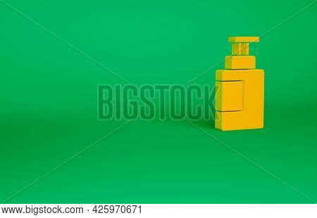 Orange Hand Sanitizer Bottle Icon Isolated On Green Background. Disinfection Concept. Washing Gel. A