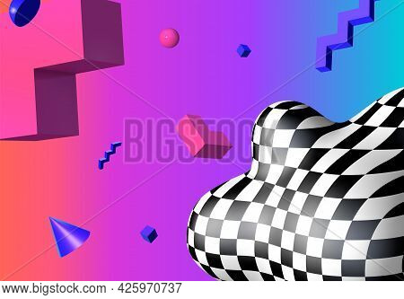 Abstract Background With Flying Colorful 3d Geometric Shapes Over Vibrant Gradient Backdrop. Lush An
