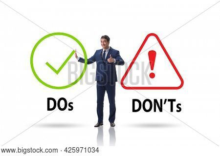 Concept of choosing between dos and donts