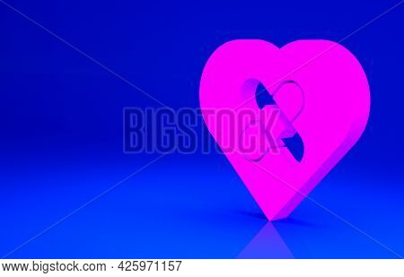 Pink Healed Broken Heart Or Divorce Icon Isolated On Blue Background. Shattered And Patched Heart. L