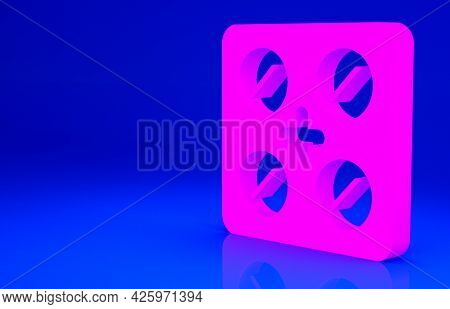 Pink Pills In Blister Pack Icon Isolated On Blue Background. Medical Drug Package For Tablet, Vitami