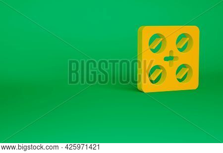 Orange Pills In Blister Pack Icon Isolated On Green Background. Medical Drug Package For Tablet, Vit