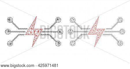 Triangular Vector Energy Circuit Icons. Mesh Carcass Energy Circuit Images In Lowpoly Style With Org