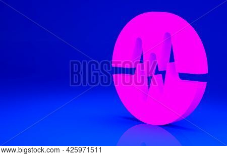 Pink Heart Rate Icon Isolated On Blue Background. Heartbeat Sign. Heart Pulse Icon. Cardiogram Icon.