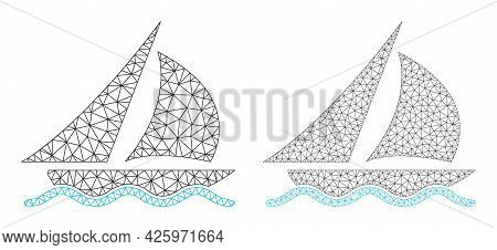 Mesh Vector Sailing Icons. Mesh Carcass Sailing Images In Low Poly Style With Combined Triangles, Do