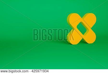 Orange Crossed Bandage Plaster Icon Isolated On Green Background. Medical Plaster, Adhesive Bandage,