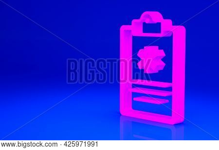 Pink Medical Clipboard With Clinical Record Icon Isolated On Blue Background. Health Insurance Form.