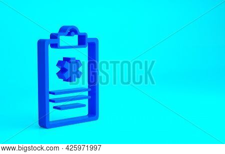 Blue Medical Clipboard With Clinical Record Icon Isolated On Blue Background. Health Insurance Form.