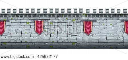 Ancient Castle Stone Seamless Background, Brick Medieval City Wall, Fortress Gray Cracked Texture. G