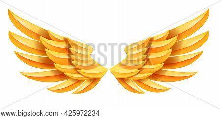 Angel Golden Vector Wings Illustration, Fantasy Abstract Eagle Luxury Emblem, Heaven Freedom Symbol.