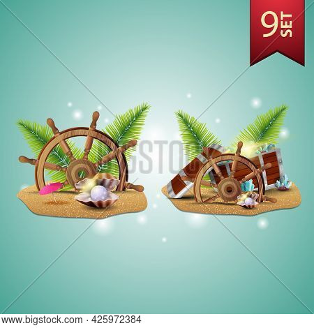 Set Of Summer 3D Icons, Steering Wheel Of The Ship In The Sand, Palm Leaves, Pearl, Treasure Chest,