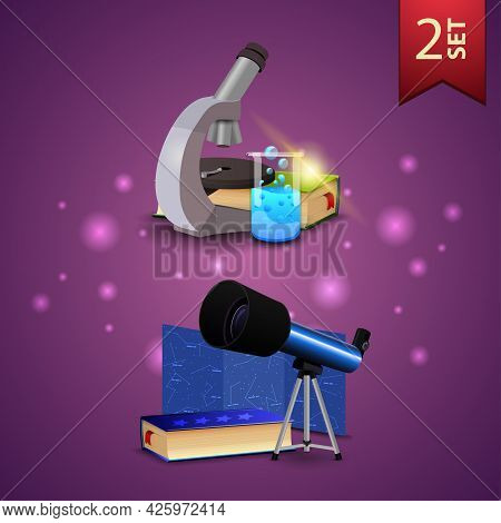 Set Of Back To School 3D Icons, Microscope, Books, Chemical Flask, Telescope, Map Of The Constellati