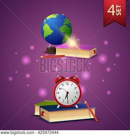 Set Of Back To School 3D Icons, Globe, School Textbooks, School Books And Alarm Clock
