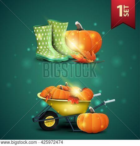 Set Of Autumns 3D Icons, Rubber Boots, Pumpkin, Garden Wheelbarrow With A Harvest Of Pumpkins And Au
