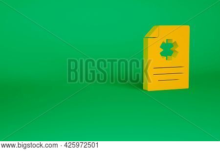 Orange Medical Clipboard With Clinical Record Icon Isolated On Green Background. Health Insurance Fo