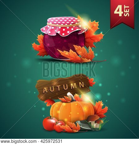 Set Of Autumns 3D Icons, Jar Of Jam, Maple Leaves, Harvest Of Vegetables And A Wooden Sign