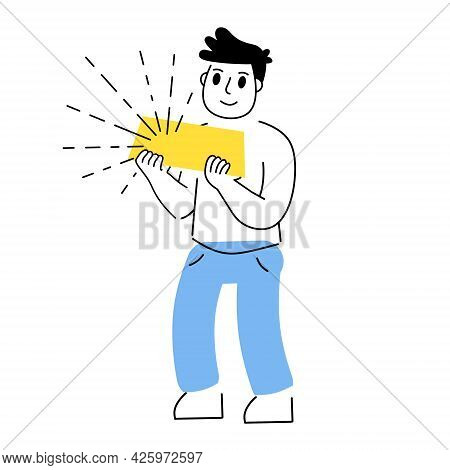Investing In Gold. Businessman With Large Bullion. Yellow Metal Bars Or Ingot. Growing Wealth Concep