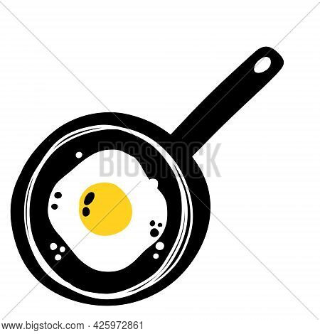 Fried Eggs In A Frying Pan. Doodle Breakfast. Sketch Scrambled Eggs. Minimalist Kitchen Element. Out
