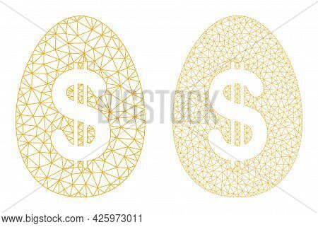 Mesh Vector Dollar Deposit Egg Icons. Polygonal Carcass Dollar Deposit Egg Images In Low Poly Style