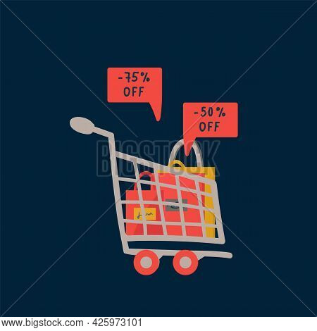 Black Friday Shopping Cart Poster. A Concept For An Advertising Banner For A Big Day Of Sales. Vecto