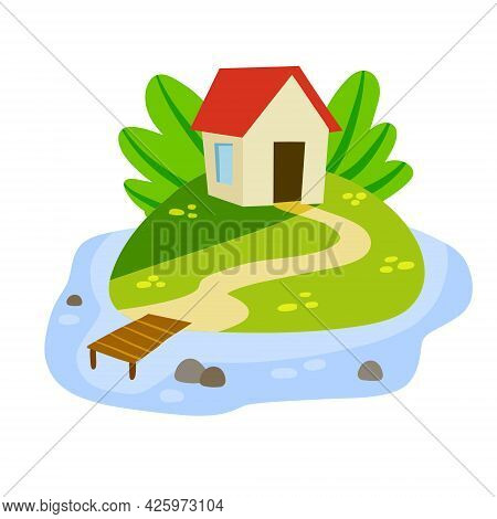 Village House With Marina Or Pier. Home On Green Hill And Road. Flat Cartoon Illsutration. Rural Whi