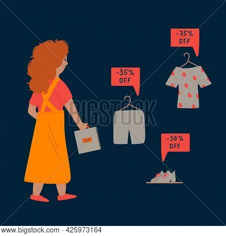 The Concept Of Black Friday Is A Day Of Sales. A Woman At A Big Sale Is In A Hurry For Discounts. Ad