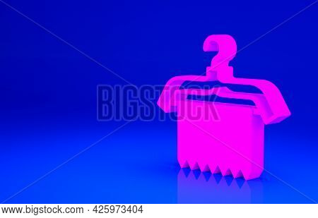 Pink Hanger Wardrobe Icon Isolated On Blue Background. Clean Towel Sign. Cloakroom Icon. Clothes Ser