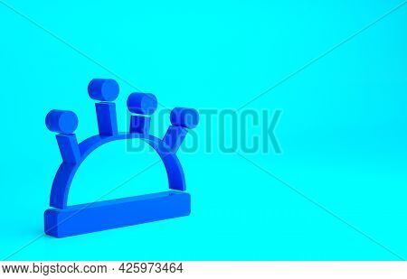 Blue Needle Bed And Needles Icon Isolated On Blue Background. Handmade And Sewing Theme. Minimalism