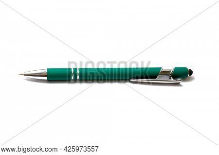Green ballpoint pen isolated on white