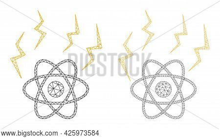 Mesh Vector Atomic Emission Icons. Mesh Wireframe Atomic Emission Images In Lowpoly Style With Conne