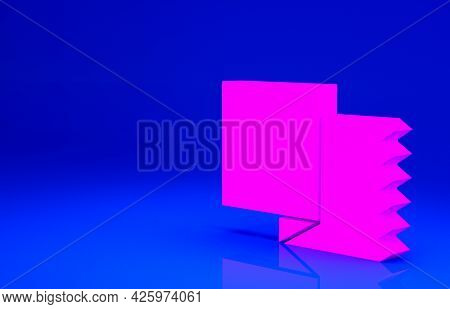 Pink Textile Fabric Roll Icon Isolated On Blue Background. Roll, Mat, Rug, Cloth, Carpet Or Paper Ro
